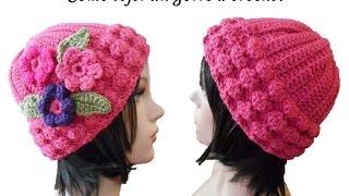 getlinkyoutube.com-ESPAÑOL TUTORIAL Como tejer gorro en crochet para mujer o jovencitas