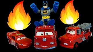 getlinkyoutube.com-Disney Pixar Cars Rescue Squad Lightning McQueen Mater and Red save Batman & Batcave on Fire