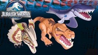 getlinkyoutube.com-Opening 3 Jurassic World CHOMPERS: T-rex, Mosasaurus, Dilophosaurs!