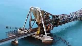 getlinkyoutube.com-Train on sea - Rameshwaram Pamban Bridge. Top 10 most dangerous railroads in the world.