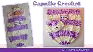 getlinkyoutube.com-Capullo - cocoon con gorro búho dormido para bebés tejido a crochet (ganchillo)