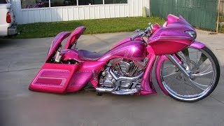 getlinkyoutube.com-Girl Bagger's Custom Cycles LTD pink 30 inch Road glide Candy paint