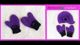 getlinkyoutube.com-How to crochet mittens   كروشيه جوانتى او قفازات