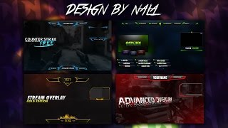 Free Twitch Gaming Overlay Pack PSD Template