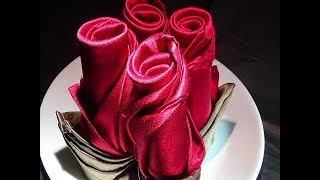 getlinkyoutube.com-For that special occasion! Rose napkin folding: Long Rose Bud & Short Rose Bud.