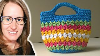 getlinkyoutube.com-Cluster Stitch Bag Crochet Tutorial - Idea's for hat