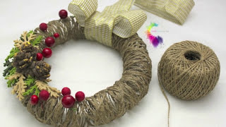 getlinkyoutube.com-Ghirlanda natalizia Fai da te con spago-Christmas Wreath DIY-ft.Sweet Life
