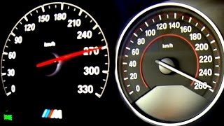 BMW M4 vs 435i Acceleration + Sound Onboard Autobahn F82 Turbo Coupe M3
