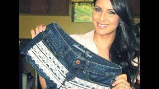 getlinkyoutube.com-Short jeans com renda by Customização & Cia