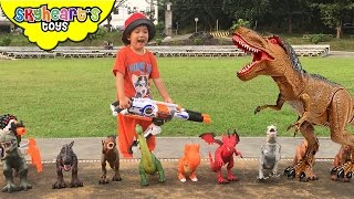 getlinkyoutube.com-DINOSAURS vs Toddler NERF WAR | Mighty Megasaur dinosaur toys for kids with Nerf Rhino Fire