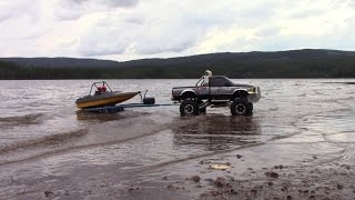 getlinkyoutube.com-RC TRAIL & BOAT FORD F350 & JET BOAT ON A TRAILER ADVENTURE ON THE BEACH