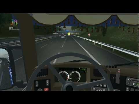 euro truck simulator - from Berlin to Brussels with SCANIA V8 (part1)