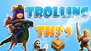 getlinkyoutube.com-Clash of Clans trolling town hall 3s!!! Win with just lighting spells. troll playlist in description