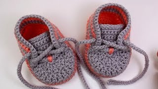 getlinkyoutube.com-DIY baby booties Crochet //Vasilisa