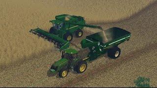 getlinkyoutube.com-Farming Simulator 15: John Deere S680 and 7930 Wheat Harvest