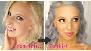 getlinkyoutube.com-From blonde to silver /lilac /pastel blue hair!