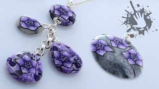 getlinkyoutube.com-Polymer clay tutorial collana con fiore viola / collier with violet millefiori cane