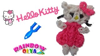 getlinkyoutube.com-ХЕЛЛО КИТТИ из резинок на рогатке. Фигурка из резинок | Hello Kitti Rainbow Loom Charm