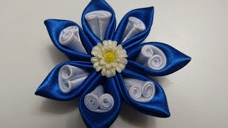 getlinkyoutube.com-Tutorial moños y flores lazos en cinta RAso, Flor de tela FAcil, Easy Hair Bow