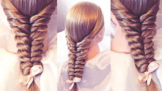 Hairstyle for long hair - Коса с помощью резинок - Hairstyles by REM