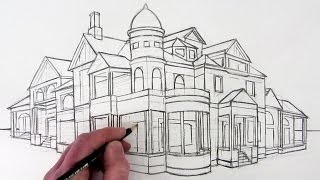 getlinkyoutube.com-How to Draw a House in 2-Point Perspective: Narrated