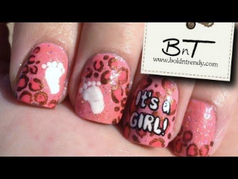 Diseño de uñas leopardo para baby shower - E031