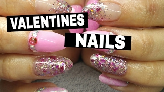 getlinkyoutube.com-VALENTINES PINK GLITTER ACRYLIC NAIL DESIGN ♥