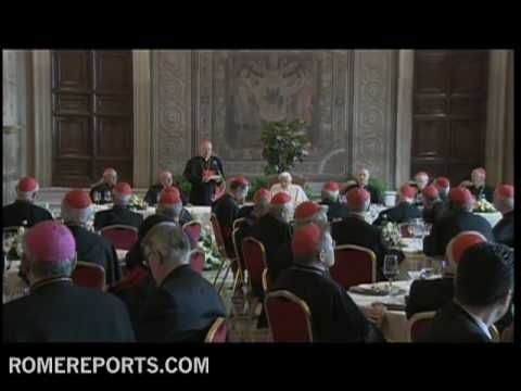 Cardinals celebrate fifth year of pontificate by having lunch with the pope