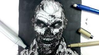 getlinkyoutube.com-Pen & Ink Drawing Tutorials | Draw a zombie