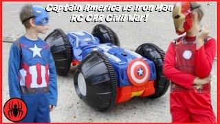 getlinkyoutube.com-CAPTAIN AMERICA vs IRONMAN, Monkey Queen Gorilla RC CAR CIVIL WAR Real Life Avengers Rumbler edition