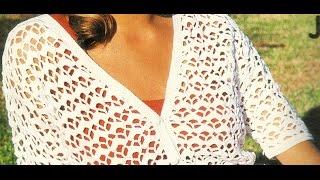 getlinkyoutube.com-Saco blanco manga corta punto calado a crochet
