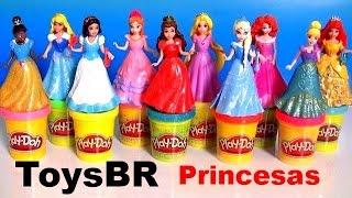 getlinkyoutube.com-ToysBR 10 Bonecas Princesas Disney Kit Magiclip Branca de Neve, Rapunzel Merida Anna Elsa Ariel