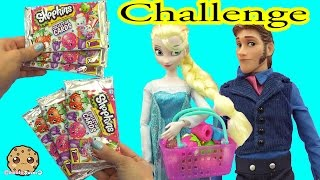 getlinkyoutube.com-Disney Frozen Queen Elsa VS Prince Hans Unboxing 6 Shopkins Collector Card Blind Bags while Shopping