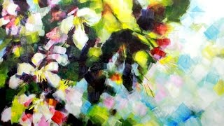 getlinkyoutube.com-How to paint Abstract Flower Blossoms in Acrylics by Samuel Durkin | Flower painting Lesson.