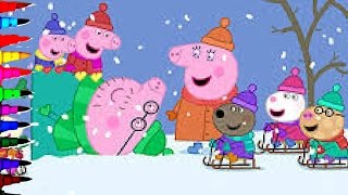 getlinkyoutube.com-Peppa Pig and George Winter Snow Making Snowman Coloring Book Pages Coloring Videos For Kids Art