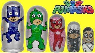 getlinkyoutube.com-Disney Jr. PJ MASKS Nesting Matryoshka Dolls, Stacking Cups with Toy Surprises / TUYC