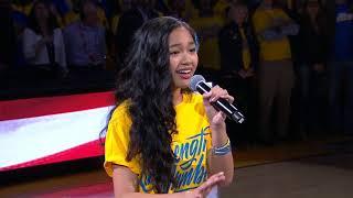 Nayah Damasen ELECTRIFIES Oracle Arena With National Anthem   Game 1 2018 NBA Finals width=