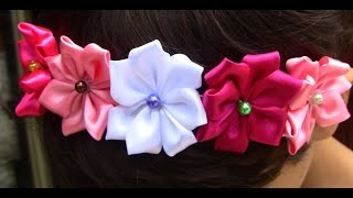 getlinkyoutube.com-Tiara com Flores de Cetim  - how to make a new satin flower model