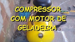 getlinkyoutube.com-Compressor caseiro com bujão de gás e motor de Geladeira!