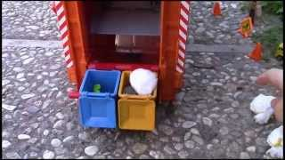 getlinkyoutube.com-Bruder Garbage Truck Rear Loader picking up trash - video for kids with fun world percussion music