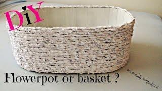 getlinkyoutube.com-Košík x květnináč z kartonu (basket x flowerpot of cardboard) DiY