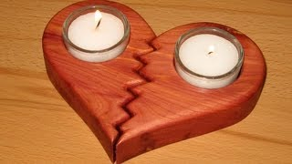 getlinkyoutube.com-easy scroll saw project - a broken heart candle holder - woodworking