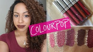 getlinkyoutube.com-ColourPop Ultra Matte Lipsticks! | 5 Colors | Lip Swatches + Review (NC45) #thepaintedlipsproject