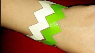 getlinkyoutube.com-How to make Paper Bracelet. Kirigami Bracelet. Zig Zag Rainbow Bracelet. Easy and cheap idea