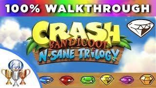 Crash Bandicoot 1 - N.Sane Trilogy 100% Full Walkthrough (Clear & Color Gems, Bonuses, Keys, Bosses)