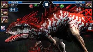 getlinkyoutube.com-Jurassic World : The Game - INDOMINUS-REX Lv.40 X3 (Best Team Forever) !!!
