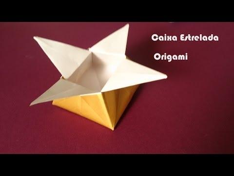 Como fazer Origami Caixa Estrelada - Dobraduras