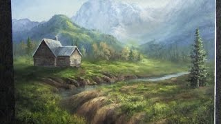 getlinkyoutube.com-Oil Painting | Mountain Cabin | Landscape