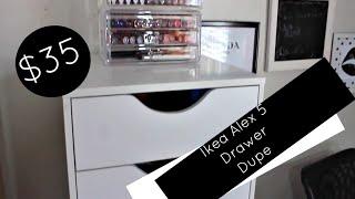 getlinkyoutube.com-$35 Ikea Alex 5 Drawer Dupe | Affordable Makeup Collection Storage