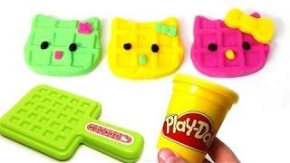 getlinkyoutube.com-Hello Kitty Play Doh artcraft & stop motion unboxing surprise eggs